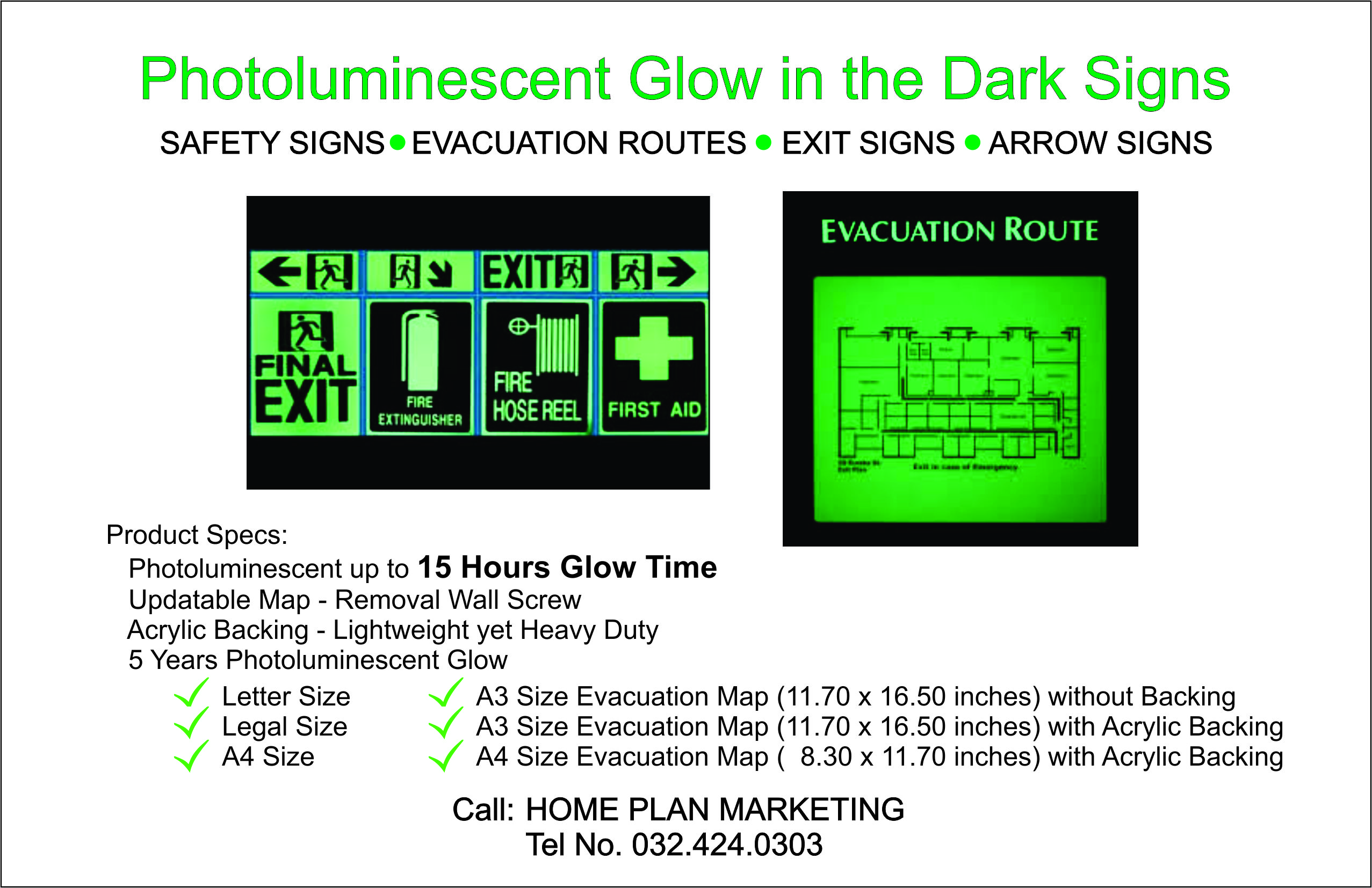 Photoluminescent Glow in the Dark Signs